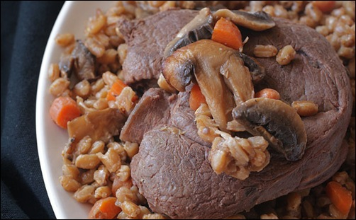 antelope steak with mushroom farro